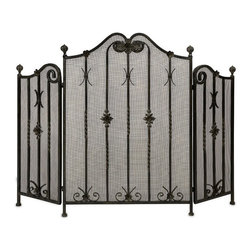 """IMAX - Iron Fireplace Screen - Traditional iron fireplace screen with intricate metalwork detail.  Tri-fold. Item Dimensions: (25""""h x 36""""w x 2.5"""")"""