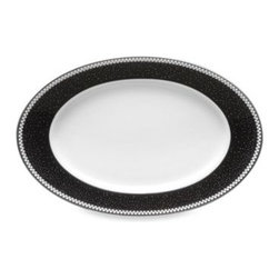 Noritake - Noritake Pearl Noir 8.5-Inch Butter Dish - This Pearl Noir dinnerware exudes elegance with white enamel dots that act as clouds in the platinum rim, raining down tiny drops of platinum, bronze and blue over a midnight black background.