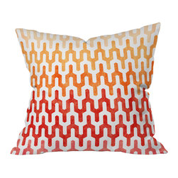 DENY Designs - Arcturus Warm 1 Throw Pillow, 18x18x5 - Want to heat up your room style? This throw pillow instantly does the trick, with its patterns of warm gradient colors rising like flames. The desert shades and almost tribal-looking pattern make it perfect for Southwestern decor styles, but it would also look hot on the deck next to your pool or fire pit. Toss it on a chair or settee and watch those heat waves shimmer.