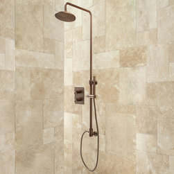 Exira Thermostatic Shower With Hand Shower and Concealed Valve - The Exira Thermostatic Shower features a sleek finish to match the modern design. This shower set offers a generously sized rainfall showerhead and a hand shower for added convenience.
