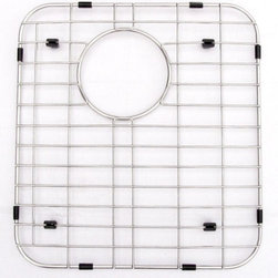 ALFI - ALFI Solid Stainless Steel Kitchen Sink Grid - GR512L - Shop for Dish and Sink Racks from Hayneedle.com! Cleaning the dishes can be draining - cleaning your sink shouldn't have to be too. Keep it fresh with the ALFI Solid Stainless Steel Kitchen Sink Grid. Crafted with durable stainless steel this custom grid fits into the bottom of sink model AB512. Half-inch high plastic feet raise the grid to help protect your sink from nicks cracks and stains. Choose left or right side.About ALFIALFI is a unique family-owned business that's passionate about creating beautiful and functional bath products. Each of ALFI's fireclay sinks is constructed from 100% white clay and glazed with a thick coat to ensure durability and long-lasting design - two hallmarks of the ALFI work ethic. These famous sinks along with state-of-the-art stainless steel faucets LED rain shower heads protective sink grids and bathroom fixtures are surprisingly environmentally friendly. ALFI truly is a one-stop shop for all your water fixture needs.