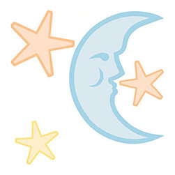 Brewster Home Fashions - Nursery Moon Stars Self-Stick Wall Decal Sticker Set - FEATURES: