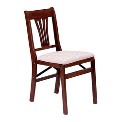 Stakmore - Urn Back Folding Chair in Warm Cherry Finish - Set of 2. Traditional style. Decorative back panel. Steel folding mechanism. Padded upholstered seat. Folds up to 7 in. deep for storage. Made from solid hardwood. No assembly required. 19.25 in. W x 16.5 in. D x 33 in. H. Seat height: 18.75 in.