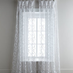 """Dian Austin Couture Home - Dian Austin Couture Home White """"Boucle Scroll"""" Sheer Curtains - Exclusively ours. Richly textured with boucle scrollwork on a sheer ground, these curtains with 6"""" rod pocket are finished with a merrow edge. Select color when ordering. From Dian Austin Couture Home®. Each curtain is approximately 47""""W. Ha..."""