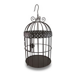 Zeckos - Bronze Finish Decorative Metal Bird Cage 15 In. - This decorative bird cage is not only a lovely home accent, it's also a great way to incorporate a vintage look into your table centerpiece, a baby or bridal shower, or any other special event. Place a votive or tea light candles inside for a unique lighting effect great for inside your home or on the patio, and it'll hang from the attached hanger, or display it on a table surface. Fill it with dried flowers or use it as a cork cage on the bar, the satin bronze finish complements most decor colors. Made from metal, it's 15.5 inches high to the top of the hanger and 7 inches in diameter (39 X 18 cm), the door secures with a swing latch closure, and it's wonderful as a housewarming gift.