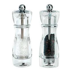 "Peugeot - Peugeot Vittel Acrylic Pepper & Salt Mill Set 16cm/6.25"" - Color: Acrylic with Stainless Steel"