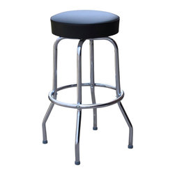 Richardson Seating - Richardson Seating Retro 1950s Backless Swivel Bar Stool with Black Seat-24 Inch - Richardson Seating - Bar Stools - 1950BLK24 - Richardson Seating Floridian's Floridian collection ships within 2 business days as quick ship items. The 50's retro look bar stool collection is back with added comfort and stylish design. The Floridian collection are commercial bar stools made in the USA, and equally ideal for residential use.