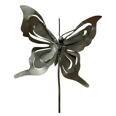 HomArt - Butterfly Stake - Decorate your garden or indoor potted plants with this charming Butterfly Stake. The piece's galvanized metal provides an interesting contrast to its delicate butterfly adornment, while its sturdy base allows for easy placement in soil or grass.
