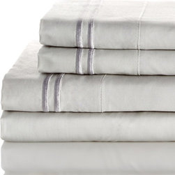 Melange Home - 600 Thread Count 100% Egyptian Cotton 2 Bonder Sheet Set, Sliver on Sliver, Quee - Features: