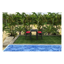 Barbados 3-Piece Outdoor Wicker Bar Set, Ruby Cushions