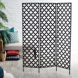 Finley Home - Metal Quatrefoil Room Divider - ZF140140 - Shop for Room Dividers from Hayneedle.com! The Metal Quatrefoil Room Divideris a versatile 3-panel room divider and the perfect way to break up larger spaces. Found exclusively at Hayneedle this divider features an iron frame with a black painted finish. Look closely around its edges and see peekaboo spots of gold reflect through to give it a perfectly aged look. Its pattern lets you bring it into most any decor or setting. Light passes through the worldly quatrefoil cut-out pattern making this piece both a functional and decorative addition to your room. Its accordion design lets you to stand it up flat against a wall behind furniture or a bed or bend it at its joints to stand alone. This divider can be both art and furniture! Hang jewelry scarves or other accessories from its cut-outs or simply let it be and let it wow all on its own. About Finley HomeFinley Home was created to ensure that your needs wants and desires regarding home furnishings and decor are met with ease. Offering a well-appointed mix of both current and classic designs all with functional style at exceptionally affordable prices Finley Home's unique pieces and collections are ideal for keeping pace with today's ever-evolving lifestyles. Simple silhouettes understated elegance and versatility define the Finley Home brand and make it one you'll return to for years to come.