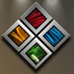 Matthew's Art Gallery - Metal Wall Art Abstract Modern Sculpture Four Elements - Name: