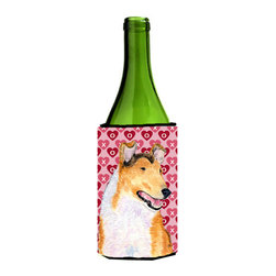 Caroline's Treasures - Collie Smooth Hearts Love Valentine's Day Portrait Wine Bottle Koozie Hugger - Collie Smooth Hearts Love and Valentine's Day Portrait Wine Bottle Koozie Hugger Fits 750 ml. wine or other beverage bottles. Fits 24 oz. cans or pint bottles. Great collapsible koozie for large cans of beer, Energy Drinks or large Iced Tea beverages. Great to keep track of your beverage and add a bit of flair to a gathering. Wash the hugger in your washing machine. Design will not come off.