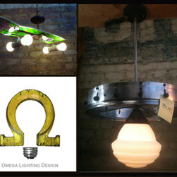 Unique lighting fixtures for our showrrom in Berkeley - spinning order up diner wheel for your kitchen. made by Mark Bell in the USA!