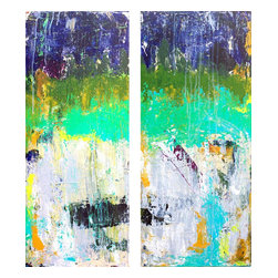 Diptych, Original, Painting - Colorful abstract acrylic painting. Two 12 x 30 canvas panels.