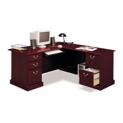 Bush - Bush Saratoga L-Shape Wood Executive Desk in Harvest Cherry - Bush - Executive Desks - EX4567003K - If you want to make a sweeping statement without saying a word, the Bush Saratoga Executive Desk is the solution of choice. This luxury desk features filing drawers that accept letter, legal or A4-size files.
