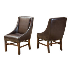 Great Deal Furniture - Claudia Fabric Dining Chairs (Set of 2), Brown Leather - The Claudia Brown Leather Dining Chair is a versatile solution in both form and function for your home. The rich brown leather is accented with nailhead detailing around the edges of the chair. The curves enhance the sturdy dark stained wooden frame and legs and offers the right balance between design and quality. Place these chairs in your dining room or use them as an accent or occasion chairs around the house.