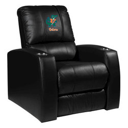 Dreamseat Inc. - University of Florida NCAA Albert Home Theater Leather Recliner - Check out this Awesome Leather Recliner. Quite simply, it's one of the coolest things we've ever seen. This is unbelievably comfortable - once you're in it, you won't want to get up. Features a zip-in-zip-out logo panel embroidered with 70,000 stitches. Converts from a solid color to custom-logo furniture in seconds - perfect for a shared or multi-purpose room. Root for several teams? Simply swap the panels out when the seasons change. This is a true statement piece that is perfect for your Man Cave, Game Room, basement or garage. It combines contemporary design with the ultimate comfort from a fully reclining frame with lumbar and full leg support.