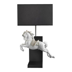 "Lladro Porcelain - Lladro Horse On Pirouette Lamp - Plus One Year Accidental Breakage Replacement - ""Hand Made In Valencia Spain - Sculpted By: Juan Ignacio Aliena - Lamp Shade Is Included - Included with this sculpture is replacement insurance against accidental breakage. The replacement insurance is valid for one year from the date of purchase and covers 100% of the cost to replace this sculpture (shipping not included). However once the sculpture retires or is no longer being made, the breakage coverage ends as the piece can no longer be replaced. """