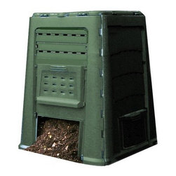 Exaco - Wibo 21.4 Cu. Ft. Composter - Features: -Material: Plastic.-Provides optimum continuous cycle composting of lawn and garden waste.-Removable access doors on all 4 sides.-Comes with a complete set of composting instructions.-Made in Germany.-Capacity: 160 Gallon.-Attractive compost bin with dark color and well-placed vents.-Compost Bins / Composters collection.-Product Type: Composter.-Color: Grey-green.-Distressed: No.-Gloss Finish: No.-Material: Plastic.-Number of Items Included: 1.-Non-Toxic: Yes.-Water Resistant: Yes -Water Resistant Details: Waterproof..-Weather Resistant: Yes -Weather Resistant Details: Weatherproof..-Odor Resistant: No.-Stain Resistant: Yes.-Warp Resistant: Yes.-Mildew Resistant: Yes.-Algae Resistant: Yes.-Insect Resistant: No.-Rodent-Proof: No.-UV Resistant: No.-Fade Resistant: Yes.-Crack Resistant: Yes.-Child Safe: Yes.-Pet Safe: Yes.-Composter Capacity: 21.4 Cubic feet.-Tumbler: No.-Spigot Included: No.-Worm Farm: No.-Year-Round Use: Yes.-Temperature Range: Subzero to 150 degrees.-Indoor or Outdoor Use: Outdoors.-Foldable: No.-Hose Included: No.-Debris Screen Included: No.-Planter Included: No.-Compostable Bag Included: No.-Compost Completion Time: 22 Weeks.-Number of Interior Chambers: 1.-Aeration Holes: Yes.-Wall Mounted: No.-Latching Lid: No.-Number of Access Doors: 4.-Vents: Yes.-Drainage: No.-Wheels: No.-Weight Capacity: 660.-Swatch Available: No.-Commercial Use: No.-Recycled Content: No.-Eco-Friendly: Yes.-Country of Manufacture: Germany.Specifications: -FDA Compliant: No.-EPP Compliant: No.-General Conformity Certified: No.-Green Guard Certified: No.-USDA Compliant: No.-BPA Free: Yes.Dimensions: -Overall Height - Top to Bottom: 41.-Overall Width - Side to Side: 32.-Overall Depth - Front to Back: 32.-Opening Width - Side to Side: 15.-Opening Depth - Front to Back: 10.-Overall Product Weight: 23.Assembly: -Assembly Required: No.-Additional Parts Required: No.Warranty: -Product Warranty: 3 years.