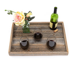 (del)Hutson Designs - Reclaimed-Wood Serving Tray, Slim Lip - These are made 100% out of reclaimed wood. Each item we make is hand crafted by a person. We sand these to a find finish. Every smooth to touch.