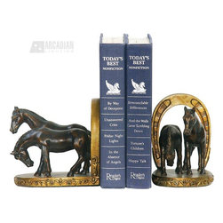 Sterling Industries - Sterling Industries 91-2062 Pair Horse And Horseshoe Bookends - Sterling Industries 91-2062 Pair Horse And Horseshoe Bookends