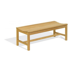 Oxford Garden - Backless Bench 4 Foot - The Oxford Backless Bench is classically designed with a contour seat for comfort. Handcrafted of shorea hard wood using mortise and tenon joinery, this bench is the best choice for enjoying the view from any direction. The four foot backless bench is specifically designed to be used as a double seat in conjunction with our two foot or five foot backless benches and our Hampton tables. This combination of seating creates a casual yet elegant dining setting.