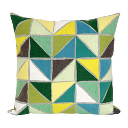 "Trans-Ocean - Triangles Green Pillow - 20"" SQ - The highly detailed painterly effect is achieved by Liora Mannes patented Lamontage process which combines hand crafted art with cutting edge technology.These pillows are made with 100% polyester microfiber for an extra soft hand, and a 100% Polyester Insert.Liora Manne's pillows are suitable for Indoors or Outdoors, are antimicrobial, have a removable cover with a zipper closure for easy-care, and are handwashable."
