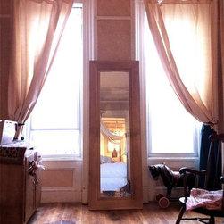 Vintage Solid Blonde Wood Framed Full Length Floor Mirror - Genevieve Hannon