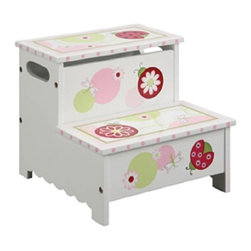 Guidecraft - Lambs and Ivy Sweetie Pie Storage Step Up - Lady bugs, dragonflies and other decorative elements playfully enhance the Sweetie Pie Collection. Hand-carved, hand-painted details and turned hardwood legs and posts make this Lambs & Ivy series the perfect collection for a bedroom or playroom. Features storage beneath the top step.