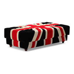ZUO MODERN - Union Jack Ottoman Red, White & Black - Stay patriotic with our Union Jack series. Made from a plush microfiber and tufted for a classic look. Comes in an armchair, loveseat, sofa and ottoman.