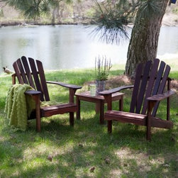 Richmond Adirondack Chair Set with FREE Side Table - Additional Features Some basic assembly is required Chair: 31.5W x 36D x 36H inches Seat: 20W x 20.5D x 13.75H inches Table: 19.75L x 19.25W x 15H inches In classic Adirondack style our Richmond Deluxe Adirondack Chair with FREE Side Table offers the utmost in comfort and durability. Plus you get a free side table! It's crafted of durable red shorea (red Lauan) a wood similar in strength texture and appearance to mahogany. The slightly coarser structure of Red Lauan will age beautifully imparting an element of rustic charm in any setting. Wide armrests comfortable slats and an ergonomic curved back promise season after season of relaxation. As far as end tables are concerned the Richmond Side Table is both a beautiful and quality choice. It is constructed of Lauan hardwood that originates mainly from tropical lowland rainforest trees giving you a table with a look that you won't find just anywhere. The slat style top is framed by wide pieces of wood for a smart tailored design. You'll find this table so handy you'll wonder how you got along without it. Please note that it is recommended to let your Adirondack chairs sit outside for 2-3 days before sitting on them to let the stain air out and completely dry. About Shorea Wood and Linseed Oil Shorea is possibly the best wood choice for outdoor furniture. Related to Burma teak this hardwood grows naturally and plentifully in the Pacific Rim countries. Because shorea is dense heavy and hard and contains an abundance of natural oils it is highly resistant to rot bug infestation weather and marring. Shorea (red lauan) wood will have variations is color - from a red to a yellow cast. The Shorea wood for this item is treated with linseed oil. Linseed oil is not a varnish. The oil soaks into the pores of the wood leaving a shiny (not glossy) surface that shows off the grain of the wood. Linseed oil helps protects the wood from denting by compression and from accelerated deterioration.