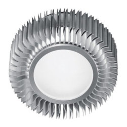 Eglo - Eglo 89119A 1 Light Flush Mount Ceiling Fixture from the Chiron Collection - Eglo 89119A Chiron 1 Light Flush Mount Ceiling FixtureFeaturing a uniquely modern look, this flush mount ceiling fixture from the Chiron Collection features Circle Shaped Frosted Glass attached to a decorative flanged metal housing in an Aluminum Finish. This fixture would make an excellent futuristic addition to any d�cor and can be mounted as a ceiling fixture or a wall sconce.Eglo 89119A Features: