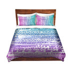 DiaNoche Designs - Duvet Cover Twill by Organic Saturation - Pastel Ombre Aztec - Lightweight and soft brushed twill Duvet Cover sizes Twin, Queen, King.  SHAMS NOT INCLUDED.  This duvet is designed to wash upon arrival for maximum softness.   Each duvet starts by looming the fabric and cutting to the size ordered.  The Image is printed and your Duvet Cover is meticulously sewn together with ties in each corner and a concealed zip closure.  All in the USA!!  Poly top with a Cotton Poly underside.  Dye Sublimation printing permanently adheres the ink to the material for long life and durability. Printed top, cream colored bottom, Machine Washable, Product may vary slightly from image.
