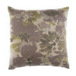 "Canaan - 24"" x 24"" Spring Meadow Lavender Pattern Fabric Throw Pillow - 24"" x 24"" Spring meadow lavender pattern print fabric throw pillow with a feather/down insert and zippered removable cover. These pillows feature a zippered removable 24"" x 24"" cover with a feather/down insert. Measures 24"" x 24"". These are custom made in the U.S.A and take 4-6 weeks lead time for production."