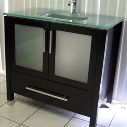 Frost Green Glass Modern Contemporary Bathroom Vanity - Cabinet is made out of  Pure Oak Wood