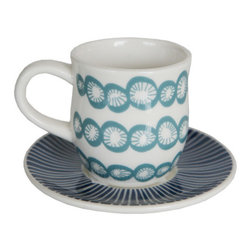 Lotta Jansdotter Cup & Saucer - Summer dinnerware doesn't have to be plastic, merely sturdy. Brooklyn-based designer Lotta Jansdotter has created a cool collection of midcentury-inspired dishware for Fishes Eddy that's robust enough for the outdoors.