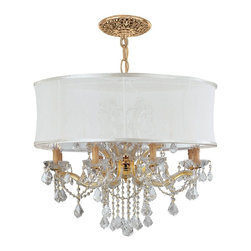 Crystorama - Crystorama Brentwood Chandelier X-QLC-WMS-DG-9844 - This isn't your Grandmother's crystal. The Brentwood Collection from Crystorama offers a nice mix of traditional lighting designs with large tailored encompassing shades. Adding either the Harvest Gold or the Antique White shade to these best selling skus opens the door to possibilities for these designer friendly chandeliers. The Brentwood Collection has a touch of design flair that will work for your traditional or transitional home.
