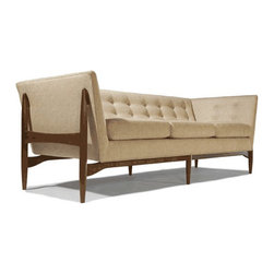 Cliff Young Ltd. - Button Sofa - This sofa combines perfectly with sleek modern look with traditional design attributes of button tufting on the back and sides. Sitting on the hand-crafted solid walnut legs will not only reassure of Its quality, but also of the beautiful simplicity of the design.