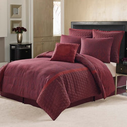 Nicole Miller - Nicole Miller Block Print Paisley 7-piece Comforter Set - This Nicole Miller Block Print Paisley 7-piece comforter set features a beautiful paisley print with quilting details in rich bordeaux. The set includes a complete ensemble to create a beautiful,updated look in your bedroom decor.