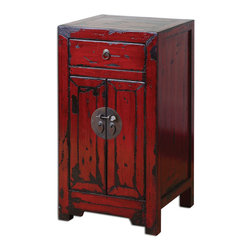 Uttermost - Harkin Red Accent Chest - Brilliant, vermillion red cabinet with traditional Chinese hardware and antique style construction in a heavily distressed, high-gloss finish.