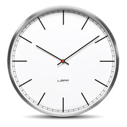 Leff Amsterdam - One25 Wall Clock - Stainless Steel White Index - Leff Amsterdam - The design of the one clocks is instantly classic; an iconic design recognised for its timelessness, quality and durability. The brushed stainless steel case combined with the back cover makes this clock feel solid and reliable. Inside, a precise japanese movement will indicate the right time.