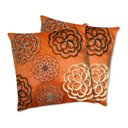 Lush Decor - Lush Decor Covina Orange Decorative Pillows (Set of 2) - The embroidered details and hand-made ribbon applique of these decorative pillows brings a multitude of textures and bright colors to life. The pillow features details on cotton fabric and a soft feather and down interior.