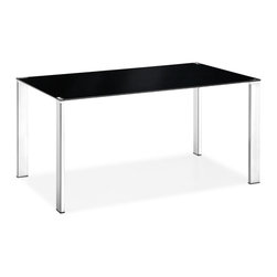 ZUO MODERN - Slim Dining Table Black - Clean, simple, and elegant, the Slim dining table has a painted tempered glass top with four basic squared chrome steel tube legs. One of our best tables that highlight any style of chair put around it.