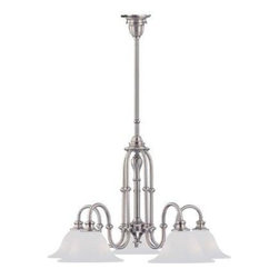 Crystorama - Kitchen Chandelier - The Cortland Collection from Crystorama offers clean designs and a satin nickel finish with matte case white glass.