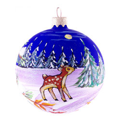 """Deer in the Woods""  Hand Painted Christmas Ball - ""Deer in the Woods""  hand painted Christmas ball is 3.15"" (80 mm) in diameter and made of hand blown glass by young artists in Ukraine. This ornament is a great Christmas gift for a child or an adult. Made in Ukraine."