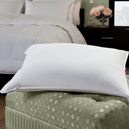 Grandin Road - White Goose Down Pillow - Easy-care down bed pillow. Filled with lofty, hypoallergenic 600-fill-power white goose down. Covered in breathable 230-thread-count cambric cotton fabric. Provides soft support that's ideal for stomach sleepers. Machine washable and dryable. Drift away into the sweetest dreams with your head upon this lofty and soft goose down bed pillow that offers a natural, restful angle, especially for stomach sleepers. Each is filled with premium, hypoallergenic 600-fill-power white goose down with exceptional loft and soft support. For extra comfort, the soft down is encased in 230-thread-count cambric cotton that's perfect for a great night's sleep.. . . . .