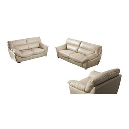 VIG Furniture - 2938 Beige Top Grain Leather 3 Piece Sofa Set - The 2938 sofa set will be a great addition for any modern themed living room decor. This sofa set comes upholstered in a beautiful beige top grain leather in the front where contact is minimal. Skillfully chosen match material is used on the back and sides where contact is minimal. High density foam is placed within the cushions for added comfort. Only solid wood products were used when crafting the frames making this sofa set very durable. The sofa set includes one sofa, loveseat, and chair only.