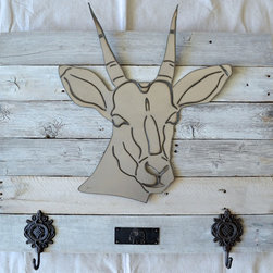 Antelope on a white wash wood frame - Made out of steel, mounted on a reclaimed wood.