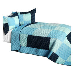 Blancho Bedding - Aquamarine Cotton Vermicelli-Quilted Patchwork Plaid Quilt Set-Queen - The [Aquamarine] Cotton Vermicelli-Quilted Patchwork Plaid Quilt Set-Queen includes a quilt and two quilted shams. This pretty quilt set is handmade and some quilting may be slightly curved. The pretty handmade quilt set make a stunning and warm gift for you and a loved one! For convenience, all bedding components are machine washable on cold in the gentle cycle and can be dried on low heat and will last for years. Intricate vermicelli quilting provides a rich surface texture. This vermicelli-quilted quilt set will refresh your bedroom decor instantly, create a cozy and inviting atmosphere and is sure to transform the look of your bedroom or guest room. (Dimensions: Full/Queen quilt: 90.5 inches x 90.5 inches; Standard sham: 24 inches x 33.8 inches)